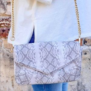 Snakeskin Rectangle Clutch with Strap